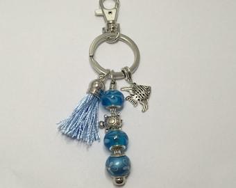 Key ring or bag jewel, blue ref 752