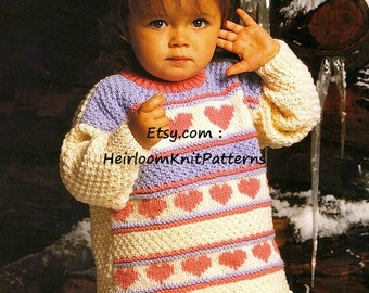 Child's Tunic Aran Knitting Pattern 22-26'' Heart Motif Girl Boy Children's Aran Jumper Sweater Knitting Pattern Instant Download PDF - 737