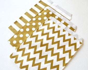 "25PK - Gold 5"" X 7"" Treat Bags // Party Favor // Paper Bag"