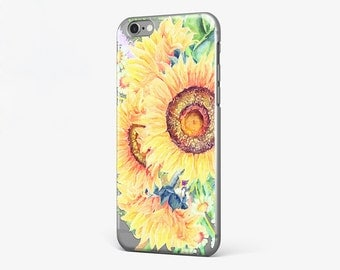 Sunflower iPhone Case Clear iPhone 7 Cover Flower iPhone 6 Plus Case iPhone 7 Plus Case Sunflower Galaxy S7 Case iPhone SE Case iPhone 4-5
