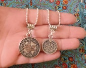 Single coin necklace - Silver plated ball chain necklace with coin pendant