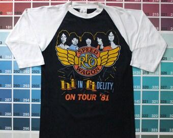 Vintage REO Speedwagon shirt | bootleg concert raglan | 80s band shirts women S | 1981 tour tee men XS | Reo Speedwagon vintage t shirts