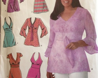 Simplicity 4277 - Raised Waist Top or Tunic with V Neck and Halter Option - Size 10 12 14 16 18