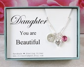Gift for daughter gift sterling silver birthstone necklace you are beautiful birthday gift from mom dad personalized initial necklace