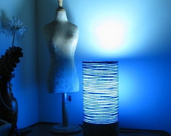 Ambient Blue Lamp - #lamp #handmade #homedecor  #lighting #table lamp #corner lamp #cylindrical lamp #mothersday #gift