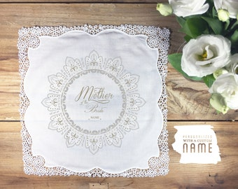 Personalized Mother of the Bride wedding handkerchief, hand illustrated gift for mom, mother of the bride handkerchief, mother handkerchief