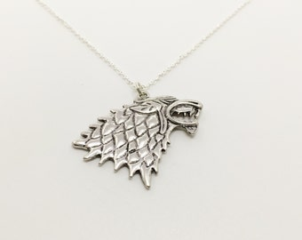 House Stark Necklace, Direwolf Sword Necklace, Inspired by Game of Thrones, Stark of Winterfell, Jonn Snow, Knights Watch, Winter is coming