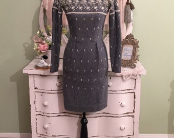 XXS Mr Mort 50s Dress, Charcoal Gray, 1950s Vintage Dress, Long Sleeve Embroidered Wiggle Dress, Grey Pencil Off Shoulder Vintage Dress