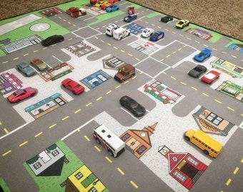 Car Play Mat Etsy - Kids road map