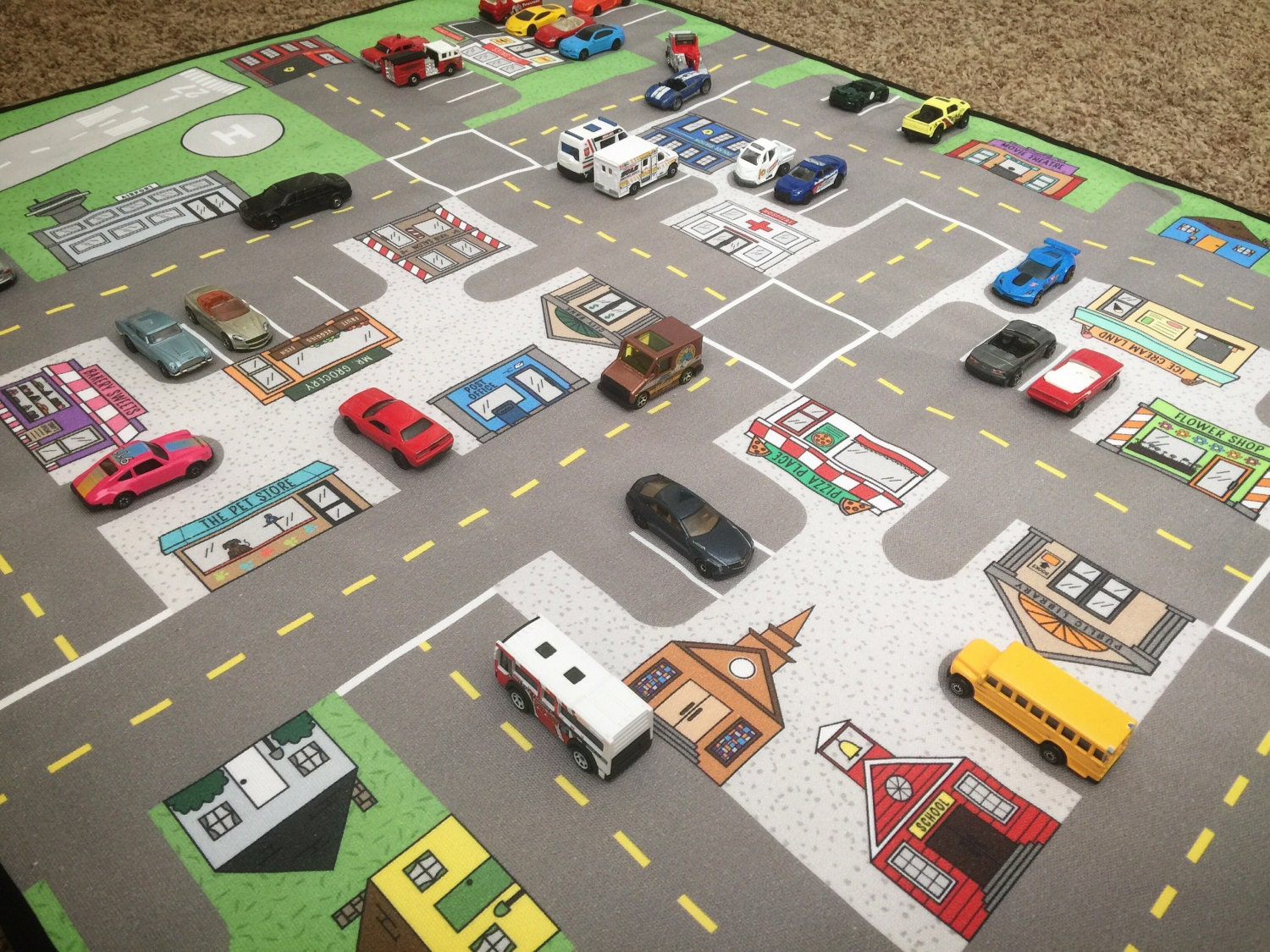 road map kidscar mat kidsactivity matfloor gamematchbox car