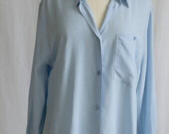 80s Blue 100% silk shirt