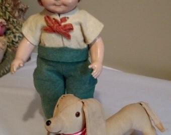"Antique 11"" Tagged Madame Hendren Dutchboy Composition Doll"