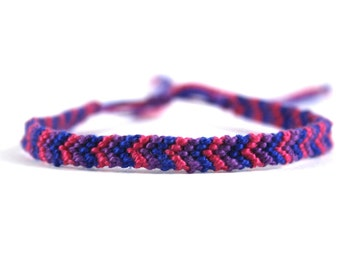 Pink, Purple and Dark Blue Friendship Bracelet