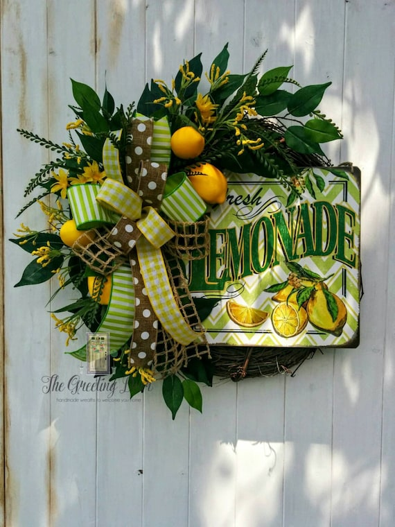 Lemon Wreath Kitchen Wreath Front Door Wreath Summer Wreath