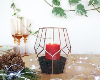 Geometric Glass Candle Holder, Christmas Candle Holder, Christmas Lights, Holiday Lights, Holiday Gifts, Rustic Candle Holder Centerpiece
