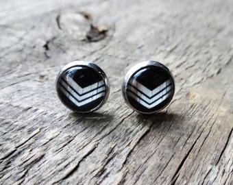 Chevron earrings, jewelry, black earrings chevron, chevron, jewelry chevron, stud 10mm chips for ears, ear studs earrings