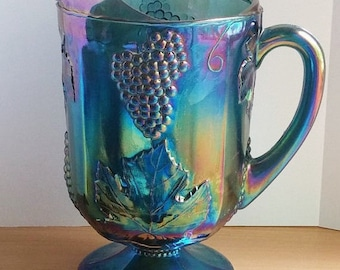 Blue Carnival Glass Pitcher, Iridescent Blue, Harvest Grape and Leaf Pattern by Indiana Glass