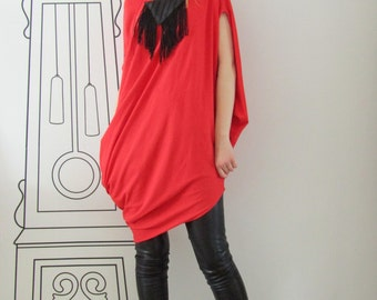 Asymmetrical Red Tunic Top / Oversized Tunic / Off Shoulder Dress by FabraModaStudio / T712