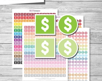 Dollar Stickers, Money Stickers, Printable Dollar Stickers, Money Planner Stickers, Printable Stickers, Dollar Sign Stickers, Finance - PS28