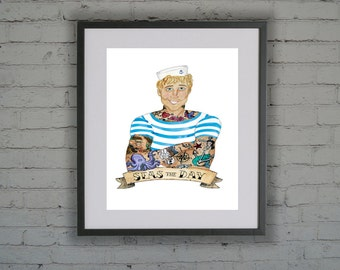 Tattooed Sailor, Tattoo, A3  Signed Print, Watercolour/Watercolor, Quirky,  Illustration, Sailor Jerry, Tattoo Flash