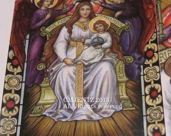 Coronation of the Virgin in Heaven, Mother of God, 5x7 signed GICLEE canvas