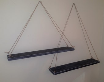 Set of 2 reclaimed wood distressed black wall hanging swing suspended  floating shelves-wall hangings-wood floating shelf-wall hanging shelf