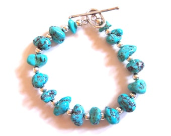TURQUOISE BRACELET.  Artisan Created Southwest Style Sterling Silver and Turquoise Nuggets Bracelet