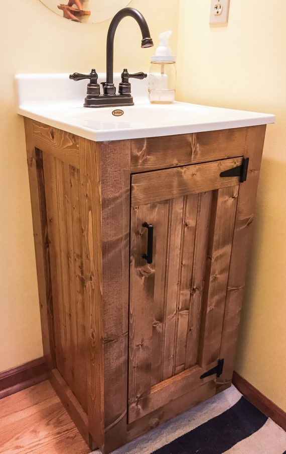 Bathroom Vanity Rustic Wood Cabinet With New England Style