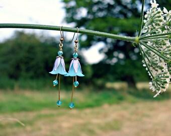 Blue Earrings - Flower Earrings - Purple Earrings - Floral Earrings - Boho Earrings - Dangle Drop Earrings - Vintage Style Pale Blue Earring