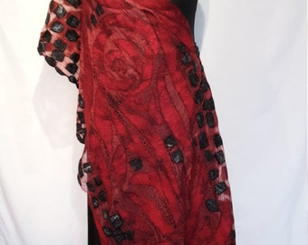 Nuno felt red black shawl, roses motive, felted stole, premium gift for a rich woman
