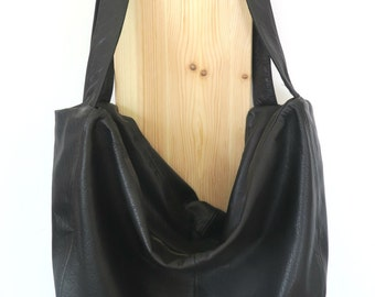 Handmade soft leather bag - black
