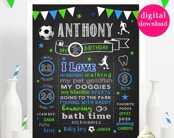 DIGITAL //  Soccer Football Futbol // First Birthday Chalkboard Style Stats // Custom // Printable // Choose Colors #8882016D