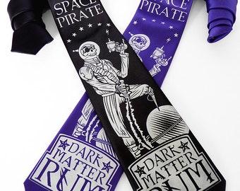 Pirate Necktie, Geek Tie, Pirate Skull Tie, Space Pirate Rum Men's Necktie, Dad Gift, Husband Gift - Speculative Spirits