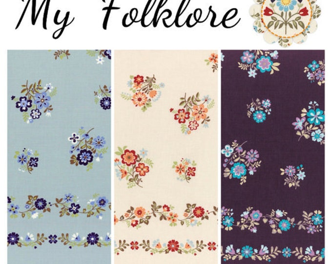 My Folklore by Lecien - L21 Border floral, 3 fat quarters or 1/2 yard cut