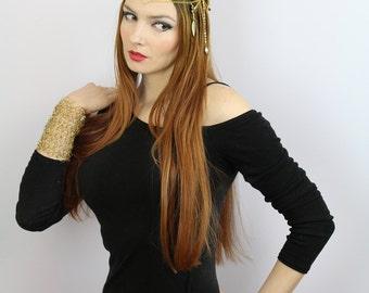 Gold Crochet WireCuff Gauntlet  Bracelet Armor