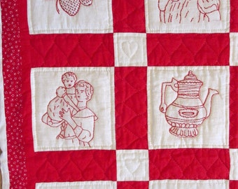 Embroidered crib quilt - Baby blanket - Wall hanging - 50 x 42 - 20 designs