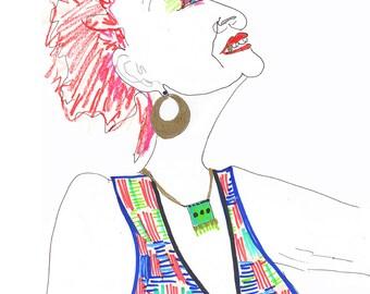 ILONA Drawing Print / Portrait/ mixed media / advanced style / fashion / Woman /  sizes a4-a3