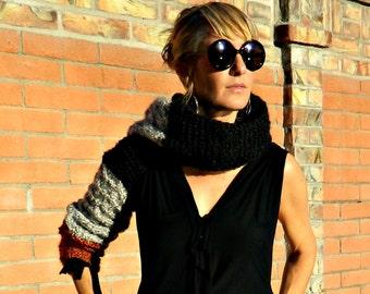 Long Sleeve Shrug-Shrug-Knit Shrug-Bolero Shrug-Bolero-Womens Shrugs-Black Shrug-Tri Color Grey & Rust-Hand Knitted-Handmade in USA