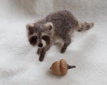 Raccoon Needle Felted Miniature Wool Animal Realistic