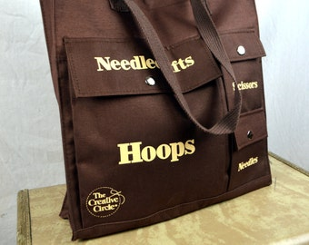 Vintage 80s Knitting Needlecrafts Tote Bag