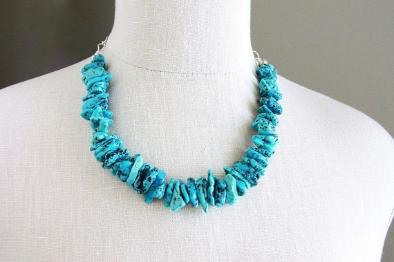 On Sale Kingman Turquoise Statement Necklace Sterling Silver