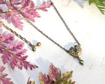 Waterlily Necklace, Lily Leaf Necklace, Delicate Lotus Leaf Charm, Tiny Lily Pad Pendant, Water Garden Jewelry, Botanical Gift, Garden Lover