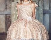 Ballerina Vintage Doll - Girls Lace Dress,Flower girl Dress,Princess Dress,Champagne Dress