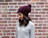 Slouchy Chunky Knit Beanie Hat // THE ASTORIA Knitted Beanie Hat - EGGPLANT