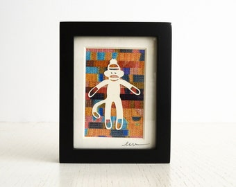 Sock Monkey, Mini Cut Paper Collage with Frame