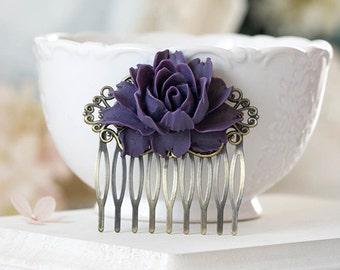 Purple Rose Flower Bridal Hair Comb Antique Brass Filigree Hair Comb Eggplant Purple Wedding Hair Comb Bridesmaid Gift Rustic Vintage Style