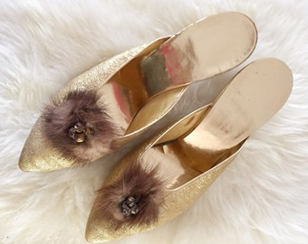 Gold Fur Kitten Heels Women's 8 Vintage 1950s Mid Century Lurex Fetish Pumps Slides Brass Metallic Boudoir Pinup Burlesque Rockabilly Bridal