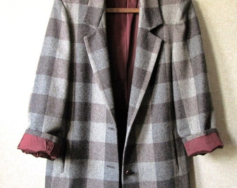 Oversized Jacket wool bold plaid boxy loose fit grey brown lumberjack plaid preppy style spring fall vintage 90s women 10 Heron Cove Casuals