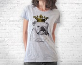 English bulldog crowned T-shirt-Bulldog women tshirt-bulldog men tees-bulldog tees-bulldog tshirt-funny dog tshirt-NATURA PICTA NPTS026