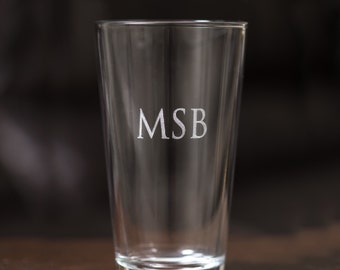 Personalized Pint Glass: Etched Pint Glasses, Monogrammed Pint Glasses, Engraved Pint Glasses, Groomsmen Pint Glasses, Groomsmen Gifts